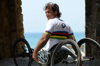 BMW Motorsport, Alessandro Zanardi (IT) BMW Works Driver. Alessandro Zanardi practicing for the triathlon