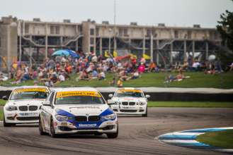 BMW teams at Continental Tire Sports Car Challenge race. Indianapolis Motor Speedway. July 25, 2014.