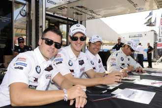 08.08.2014 to 10.08.2014, Tudor United Sportscar Championship 2014, Continental Tire Road Race Showcase, Road America, Elkhart Lake, WI (USA). Dirk Müller (DEU), John Edwards (USA), No 56, BMW Team RLL, BMW Z4 GTE. Bill Auberlen (USA), Andy Priaulx (GBR), No 55, BMW Team RLL, BMW Z4 GTE. Paddock atmosphere. Driver's autograph session. This image is Copyright free for editorial use © BMW AG