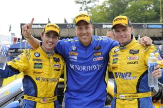 08.08.2014 to 10.08.2014, Tudor United Sportscar Championship 2014, Continental Tire Road Race Showcase, Road America, Elkhart Lake, WI (USA). Dane Cameron (USA), Markus Palttala (FIN), No 94, Turner Motorsports, BMW Z4. 1st Place GTD Class. Post-race celebrations. This image is Copyright free for editorial use © BMW AG