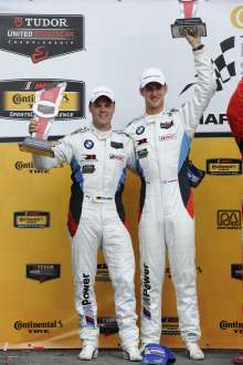 08.08.2014 to 10.08.2014, Tudor United Sportscar Championship 2014, Continental Tire Road Race Showcase, Road America, Elkhart Lake, WI (USA). Dirk Müller (DEU), John Edwards (USA), No 56, BMW Team RLL, BMW Z4 GTE. 2nd Place GTLM Class. Post-race celebrations. This image is Copyright free for editorial use © BMW AG