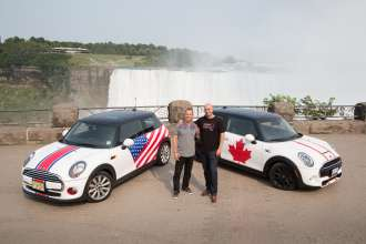 Adam Shaver, Director of MINI Canada, who welcomed the MTTS 2014 group to Canada, poses with David Duncan, VP MINI of the Americas, at the famed Niagara Falls. (08/2014)