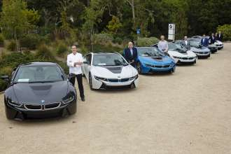 On August 15, 2014 during the Pebble Beach Concours d'Elegance, the world's premier celebration of the automobile, the first group of exclusive owners took delivery of the all-new BMW i8, a revolutionary plug-in hybrid sports vehicle, at the BMW Villa in Pebble Beach, CA. 