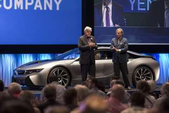 In celebration of the U.S. arrival of the BMW i8, the world's most innovative sports car, a one-of-a-kind 2014 BMW i8 Concours d'Elegance Edition was auctioned off ahead of the official fall sale date by Jay Leno on Saturday, August 16, 2014, during the annual Pebble Beach Auctions in Pebble Beach, CA.
