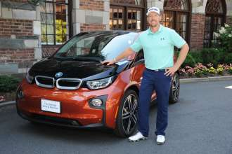 PGA TOUR Player Hunter Mahan was presented with his all-electric BMW i3 after scoring a hole-in-one on the 17th hole during the 2013 BMW Championship at Conway Farms Golf Club in Lake Forest, IL.  Mahan received his BMW i3 on Tuesday, August 19, 2014 at the Barclays Tournament in Paramus, NJ. (08/2014)