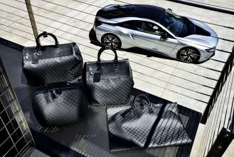 "The tailor-made Louis Vuitton luggage set for the BMW i8 made from carbon fibre: small ""Weekender PM i8"", big ""Weekender GM i8"", hardshell ""Business Case i8"",""Garment Bag i8"". (08/2014)"