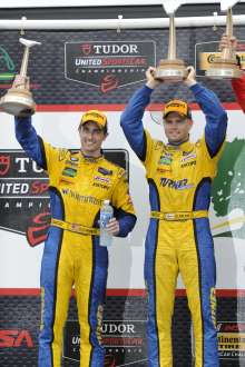 22.08.2014 to 24.08.2014, Tudor United Sportscar Championship 2014, Oak Tree Grand Prix at VIR, Virginia International Raceway, Danville, VA (USA). Dane Cameron (USA), Markus Palttala (FIN), No 94, Turner Motorsports, BMW Z4. 8th Overall and 1st in GTD Class. Post race and Podium celebrations. This image is Copyright free for editorial use © BMW AG