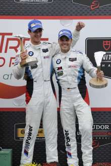 22.08.2014 to 24.08.2014, Tudor United Sportscar Championship 2014, Oak Tree Grand Prix at VIR, Virginia International Raceway, Danville, VA (USA). Dirk Müller (DEU), John Edwards (USA), No 56, BMW Team RLL, BMW Z4 GTE. 3rd Overall (GTLM Class). Podium celebrations. This image is Copyright free for editorial use © BMW AG