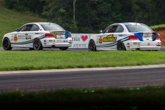 The No. 23 Burton Racing BMW 128i finishes 3rd in ST class at VIR, August 23rd, 2014.