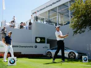 PGA TOUR Player Keegan Bradley attempted to recreate Arnold Palmer's historic drive from the 1960 U.S. Open at Cherry Hills Country Club's 1st tee to kick-off the 2014 BMW Championship, using a replica Persimmon driver with a steel shaft and wood head from the same era. BMW made an additional $10,000 donation to the Evans Scholars Foundation, which grants full college scholarships to young deserving caddies of financial need. Since BMW became title sponsor in 2007, the tournament has raised more than $16 million for the Evans Scholars Foundation. (09/2014)
