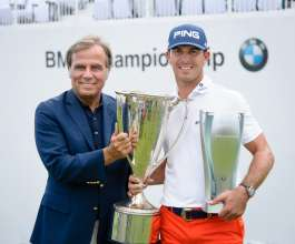 2014 BMW Championship winner Billy Horschel and Ludwig Willisch, President & CEO, BMW of North America, at Cherry Hills Country Club in Cherry Hills Village, CO on Sunday, September 7, 2014. Horschel finished with a final round of 14 under to capture the victory.