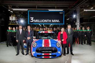 Celebrating the three millionth MINI at Plant Oxford on 9th September 2014. L-r:: Board of Management member for Production Harald Krüger;  Frank Bachmann, managing director of MINI Plants Oxford and Swindon; Baroness Kramer, Minister for Transport and Board of Management member Peter Schwarzenbauer, MINI, BMW Motorrad, Rolls-Royce and Aftersales.