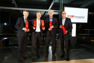 Sport Auto Award 2014 awards ceremony. From left: Carsten Pries (Head of Product Management BMW M Division; accepting award for the M Performance model M135i), Dr. Friedrich Nitschke (President BMW M Division; accepting awards for M4 and BMW M Performance M235i), Albert Biermann (Head of Development M Automobiles and BMW Individual; accepting award for M3), Hubert Rauberger (Head of Current Lower, Small Series; accepting award for 335i). (09/2014)