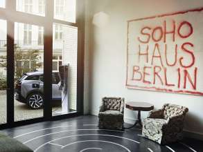 Lobby area of Soho House Berlin with an art work by Tim Noble & Sue Webster (10/2014)