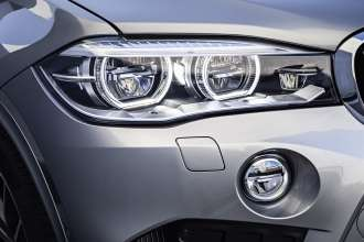 The new BMW X5 M. Adaptive LED Headlights with BMW Selective Beam, an anti-dazzle high-beam function, the active cornering function, and the headlight washer system.(10/2014)