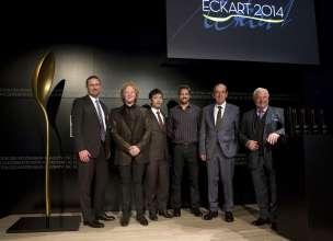 ECKART 2014, BMW Museum: Nikolai Glies (BMW Group), Mick Hucknall, Shuzo Kishida, Jon Rose, Heinz Reitbauer sen., Eckart Witzigmann (v. l. n. r.) (10/2014)
