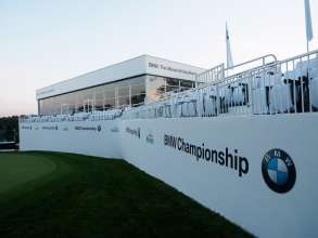 The exclusive 18th Hole Pavilion at the 2014 BMW Championshp offered spectacular views of the 18th hole, air-conditioned inside seating with outside seating as well, in addition to complimentary food and drinks. The 2014 BMW Championship was held at Cherry Hills Country Club in Cherry Hills Village, Colo., September 4-7.