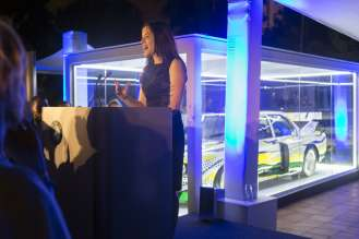 Hedwig Solis Weinstein, Head of Brand Cooperations, BMW AG speaking at a BMW Reception celebrating the BMW Art Journey, a new art project supporting emerging artists in cooperation with Art Basel, at the Miami Beach Botanical Gardens in Miami, FL on December 3, 2014.