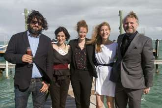 Juan Gaítan, Victoria Noorthoorn, Dorothee Dines, Nadine Lopez and Thomas Girst at a BMW event celebrating the BMW Art Journey, a new art project supporting emerging artists in cooperation with Art Basel, at Stiltsville in Miami, FL on December 4, 2014.