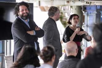 Victoria Noorthoorn, Director of Museu de Arte Moderna in Buenos Aires and BMW Art Journey jury member speaking at a BMW event celebrating the BMW Art Journey, a new art project supporting emerging artists in cooperation with Art Basel, at Stiltsville in Miami, FL on December 4, 2014.
