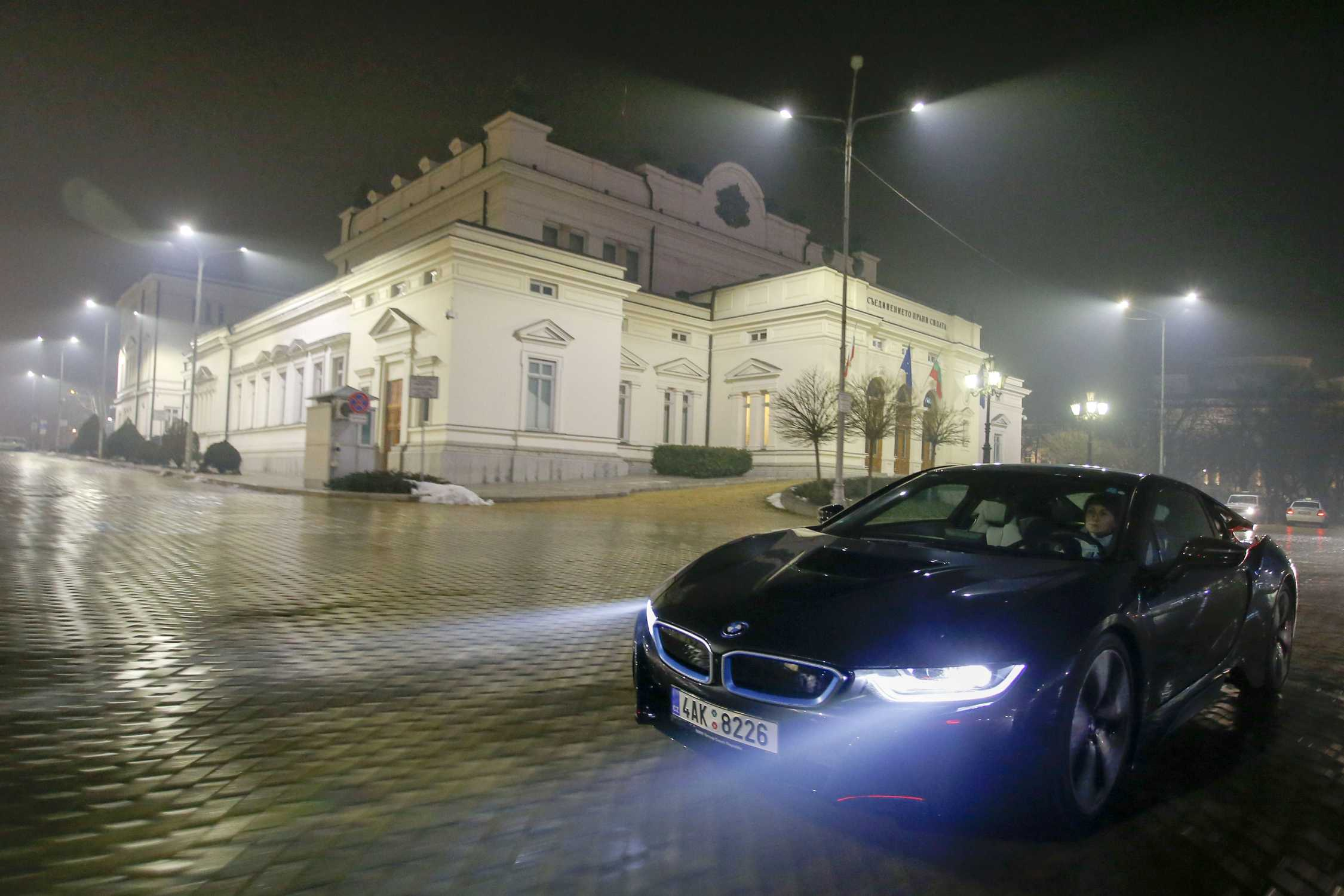 Bmw I8 During A Night Drive In Sofia 01 2015