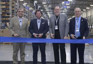Ludwig Willisch, President and CEO, BMW of North America, Craig Westbrook, Vice President of Aftersales, BMW of North America, Bob Lennox, Secretary-Treasurer, Teamsters Local Union No. 495, and Paul Foster, Mayor of Redlands (L-R), celebrated the official opening of BMW's newest Regional Parts Distribution Center on January 23, 2015 in Redlands, Calif. This new facility will primarily supply BMW Group dealerships in Southern California, Southern Nevada, Arizona and Hawaii. (01/2015)