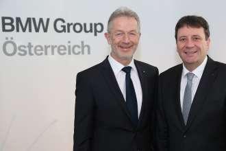 vlnr.:  Geschäftsführer DI (FH) Gerhard Wölfel, BMW Motoren GmbH und Kurt Egloff, Geschäftsführer BMW Austria GmbH (01/2015)