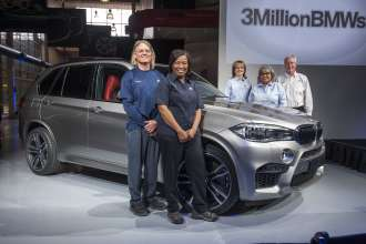 (Pictured Left to Right), BMW Manufacturing Associates: Thomas Watson (#752), Pamela Shaw (#1668),  Dawn Burgess (#433),  Shirley Scott (#1309) and President and CEO, Manfred Erlacher. (03/2015)