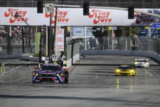 17.04.2015 and 18.04.2015, Tudor United Sportscar Championship 2015, Tequila Patrón Sports Car Showcase at Long Beach, Long Beach, CA (USA). John Edwards (USA), Lucas Luhr (DEU), No 24, BMW Team RLL, BMW Z4 GTE. This image is Copyright free for editorial use © BMW AG