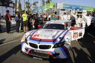 17.04.2015 and 18.04.2015, Tudor United Sportscar Championship 2015, Tequila Patrón Sports Car Showcase at Long Beach, Long Beach, CA (USA). Bill Auberlen (USA), Dirk Werner (DEU), No 25, BMW Team RLL, BMW Z4 GTE. Post-race celebrations. 1st Place GT Le Mans Class. This image is Copyright free for editorial use © BMW AG