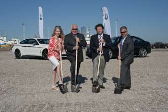 The BMW Groundbreaking Ceremony at the Port of Galveston Pier 10 on Tuesday April 21, 2015. Left to Right: Terrilyn Tarlton,  Galveston Mayor Pro Tem;  Benjamin Holland, Chairperson, Port of Galveston; Craig Westbrook, Vice President of BMW North America, and John Felitto, President, Wallenius Wilhelmsen Logistics Vehicle Services Americas.