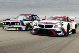 The 1975 BMW 3.0 CSL racer, and 2015 BMW Z4 GTLM racer, both wearing No. 25, pose at Sebring International Raceway to commemorate the 40th anniversary of BMW's overall win at the Twelve Hours of Sebring 1975. (04/2015)