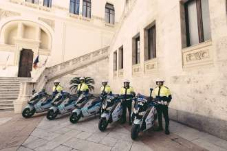 Cagliari, 28 April 2015. Delivery of electric scooters to the authorities of the city of Cagliari (04/2015).