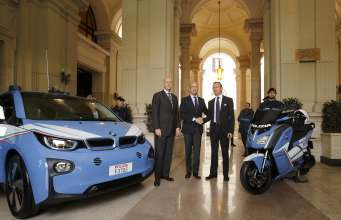 Rome, 29 April 2015. Today at the Viminal Palace in Rome, BMW Italia delivered a fleet of four electric cars  BMW i3 and six electric scooters BMW C evolution to the State Police for the duration of EXPO 2015. From left to right, the Superintendent of Police, Prefect Alessandro Pansa; the Minister of the Interior, On. Angelino Alfano; and the President and CEO of BMW Italia, Sergio Solero (04/2015).