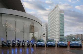 BMW Italia delivered a fleet of four electric cars BMW i3 and six electric scooters BMW C evolution to the State Police for the duration of EXPO 2015. (04/2015).
