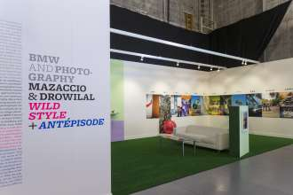 BMW exhibiting artists Mazaccio & Drowilal, Laureates of the BMW Residency Program, at Paris Photo LA 2015.