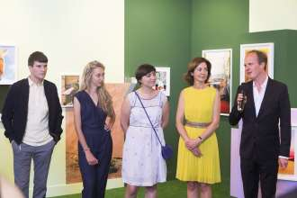 BMW exhibiting artists Mazaccio & Drowilal, Laureates of the BMW Residency Program, at Paris Photo LA 2015. (L to R: Robert Drowilal and Elise Mazac, Artists, Emmanuelle Vieillard, Curator musée Nicéphore Niépce, Florence Bourgeois, Director of Paris Photo, Christoph Wiesner, Paris Photo Artistic Director)