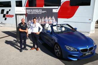 BMW M Award 2015: Axel Mittler, Head of Cooperation MotoGP at BMW M Division, and Pau Serracanta, Managing Director Commercial Department Dorna Sports, Presentation BMW M6 Convertible, Jerez (05/2015).