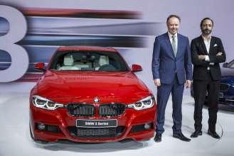 Die neue BMW 3er Reihe, Weltpremiere, BMW Museum, 7. Mai 2015 -  Dr. Ian Robertson, Mitglied des Vorstands der BMW AG, Vertrieb und Marketing BMW und Karim Habib, Leiter BMW Design