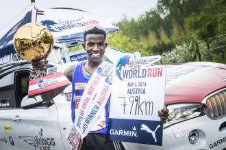 Wings for Life World Run 2015, Austria. Lemawork Ketema, Sieger der nationalen als auch internationalen Wertung. (05/2015)