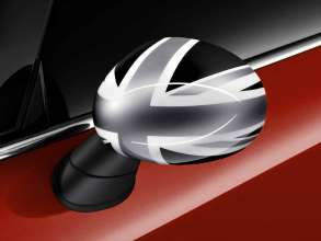 The new MINI Cooper 3 doors and 5 doors features either a Union Jack, Black Jack of Checkered Flag pattern on the internal and external mirror caps and the two side  scuttles. (05/2015)
