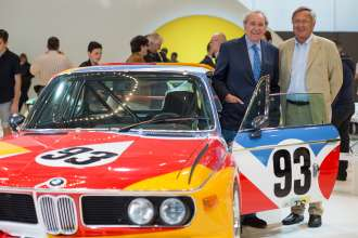 Hervé Poulain and Jochen Neerpasch, the founding fathers of the BMW Art Car Collection, with the BMW Art Car by Alexander Calder in the special BMW Art Car exhibition during the Concorso d'Eleganza. (c) BMW AG Photo: Uwe Fischer (05/2015)