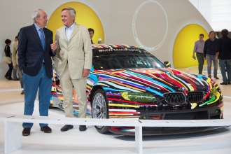 Hervé Poulain and Jochen Neerpasch, the founding fathers of the BMW Art Car Collection, in front of the BMW Art Car by Jeff Koons in the special BMW Art Car exhibition during the Concorso d'Eleganza. (c) BMW AG Photo: Uwe Fischer