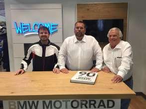 Johnny, Joey and Joe Belmont Sr., welcome customers to BMW Motorcycles of Birmingham. (06/2015)