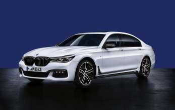 BMW 7er Limousine Langversion, BMW M Performance Frontziergitter schwarz, Außenspiegelkappen Carbon, BMW M Performance Seitenschwellerfolie, 21