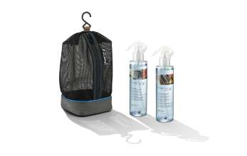 PureCare inspired by BMW i - Leather and upholstery cleaner with bio orange oil extract and Window cleaner with bio grapefruit extract, bag, ecological cleaning products, Pure Care set (08/2015).