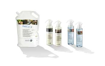 PureCare inspired by BMW i - Year-round windscreen washer with bio ginger extract, all-season, Leather care balsam with bio olive oil, Care product for wood and kenaf with bio sandalwood extract, Window cleaner with bio grapefruit extract, Leather and upholstery cleaner with bio orange oil extract, ecological cleaning products, Pure Care set (08/2015).