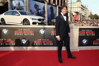 BMW 7 Series displayed at world premiere of Mission Impossible 5 in Vienna. (07/2015) VIENNA, AUSTRIA - JULY 23:  (EDITORS NOTE: This image has been digitally manipulated) Tom Cruise attends the world premiere of 'Mission: Impossible - Rogue Nation' at the Opera House (Wiener Staatsoper) on July 23, 2015 in Vienna, Austria.  (Photo by Andreas Rentz/Getty Images for Paramount Pictures International)
