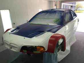 M3 GTR No. 6 under restoration. Base coats completed.
