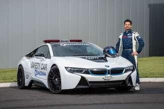 BMW i8: Official FIA Formula E Qualcomm Safety Car, Season 2015/2016, FIA Formel E Safety Car Driver Bruno Correia. (08/2015)